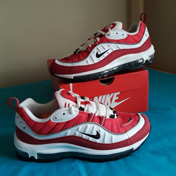 Nike Air Max 98 Gym Red Wht Sz 9.5 Women & 8 Men